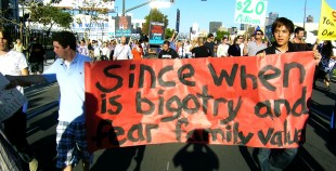gay rights march protest california proposition 8 since when are bigotry and fear family values
